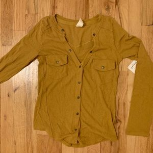 Mustard Yellow Free People Buttonup Top